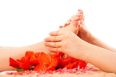 Foot massage at spa royalty free stock images