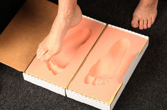 Foot measurement for orthotics Royalty Free Stock Photos