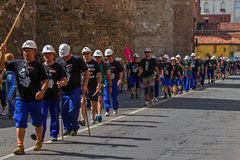 By foot of Mineworkers Marcha Negra Royalty Free Stock Photos