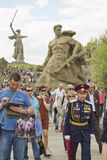 At the foot of the monument of Motherland calls in Mamayev Kurga Stock Photography