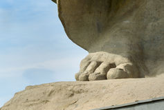 Foot of Motherland Calls monument. Memorial complex Mamayev Kurgan in Volgograd Royalty Free Stock Photography