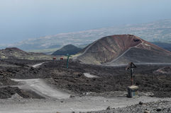 At the foot of Mount Etna. One of the sides craters of the Etna, Sicily, Italy Stock Photography