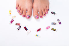 Foot nail with floral elements Stock Photography