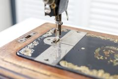 Foot with needle vintage sewing machine royalty free stock photography