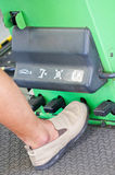 Foot On Nitrogen Tire Filling System Machine. Royalty Free Stock Images