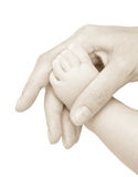 Foot Of The Child In A Hand Of Mum. Stock Images