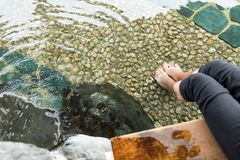 Foot onsen in Japan. Beautiful outdoor scenery landscape Stock Images