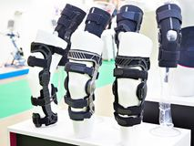 Foot orthoses for knee joint. In store royalty free stock photo