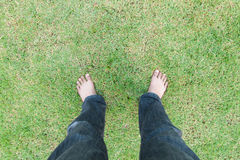 Foot over green grass Royalty Free Stock Photos