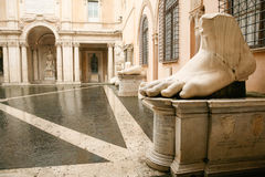 Foot and parts of sculpture Colossus of Emperor Constantine in R. Foot and parts of sculpture Colossus of Emperor Constantine, in Capitoline museums, in Rome Stock Photos