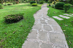 Foot path along the green yard Royalty Free Stock Photography