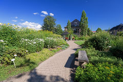 Foot path and bench in garden Royalty Free Stock Photography