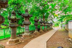 Foot path in the park with Japanese style stone lanterns. Concrete foot path in the park with Japanese style stone lanterns Stock Photo