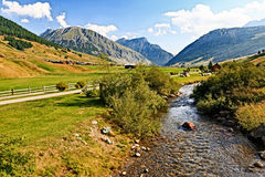 Foot Path and River Outside of Livigno, Italy Stock Photography