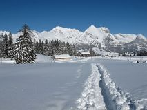 Foot-path in the snow, Mt  Saentis Stock Image
