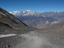 Foot-path to from Thorung La Pass to Muktinath, Nepal Stock Photography