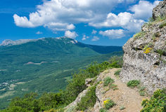 Foot-path in Valley of Ghosts in Crimean mountains Royalty Free Stock Photos