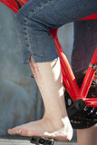 Foot on a pedal Royalty Free Stock Image