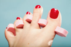 Foot pedicure applying red toenails on blue Stock Photos