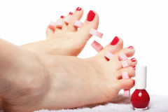 Foot pedicure applying red toenails on white Royalty Free Stock Image