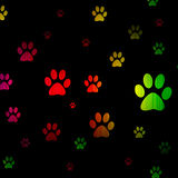Foot pet glowing isolated on black Stock Photo