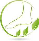 Foot and plant, leaves, foot care and orthopedics logo Stock Images