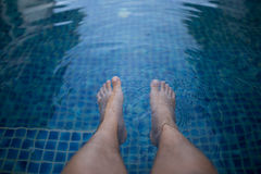 Foot  with pool. In morninig Royalty Free Stock Image