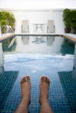 Foot  with pool. In morninig Stock Images