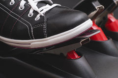 Foot pressing the gas pedal. Close up stock photography