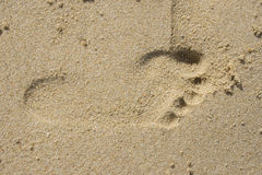 Foot Print. A Foot print found on beach Stock Images
