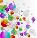 Foot print background. With round Stock Photo