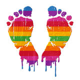 Foot print & coloprs Stock Images