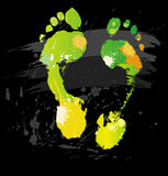 Foot print from color splashes and line brushes Royalty Free Stock Image