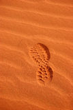 Foot print in the Desert. Abstract royalty free stock photos