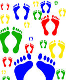 Foot print digital scrap paper. Digital scrap paperpaper sized to 12x12. Image has bright, primary colored footprints Stock Images