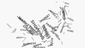 Foot print E-commerce brand marketing strategies business word cloud typography. Foot print Online Brand Business Marketing Strategies and Internet Shopping vector illustration