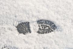 Foot print. In the snow Stock Photography