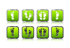 Foot print in form of leaf icon set Royalty Free Stock Photography