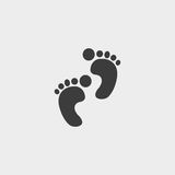 Foot print icon in a flat design in black color. Vector illustration eps10 Stock Photo