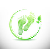 Foot print with leaves all around illustration Stock Photo