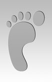 Foot print Metal. Illustration of a footprint in a metal plate Royalty Free Stock Photo
