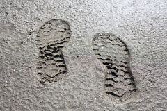 Foot print on mold Royalty Free Stock Photo