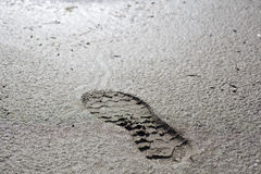 Foot print on mold Stock Photography