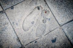 Free Foot Print On Concrete Foot Path Bridge Royalty Free Stock Image - 80141716