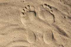 Foot print. A sand close to sea Royalty Free Stock Image