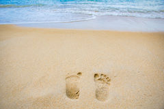 Foot print. On the sand at Thailand Stock Images