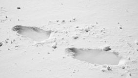 Foot print on snow Royalty Free Stock Photography