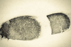 Foot print texture in fresh, soft snow.. Royalty Free Stock Photography