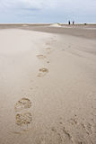 Foot print of woman walking in the sand dunes stock images