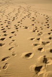 Foot prints 1. Foot prints in the sand Royalty Free Stock Photo